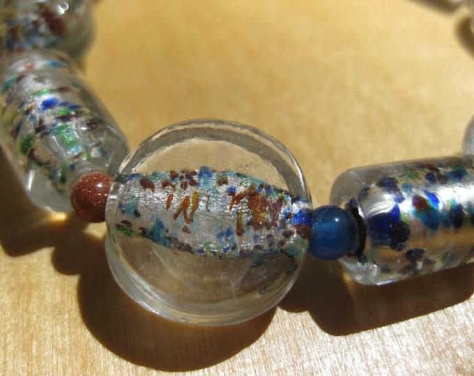 Insouciant Studios Shapely Bracelet Lampwork Glass Agate and Copper Goldstone