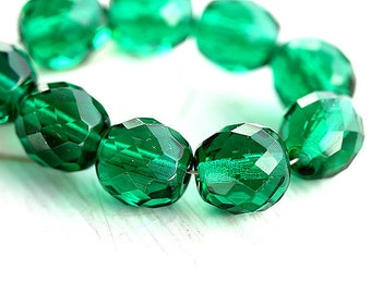 10mm Emerald green Czech glass beads Fire polished faceted green glass beads - 6Pc - 0267