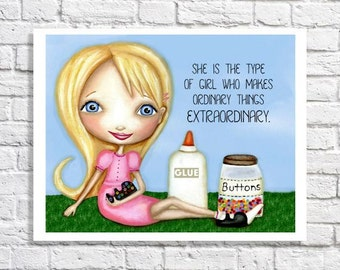 Girls Room Art Little Blonde Girl Illustration Tween Bedroom Ideas Playroom Decor Cute Wall Artwork Inspirational Quote Print Unique Nursery