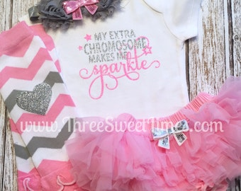 Baby Girl Outfit My Extra Chromosome Makes Me Sparkle Down Syndrome God's Gift Bodysuit Opt Leg Warmers Set Pink Silver Glitter