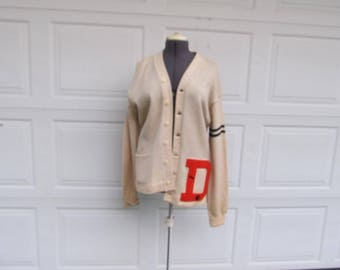 """1950s mens vintage letter sweater, """"D"""", football, wool letter sweater, varsity sweater, button front cardigan"""
