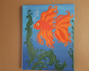 8in x 10in Original Gold Fish Acrylic Painting On Gallery Wrapped Canvas Ready To Hang