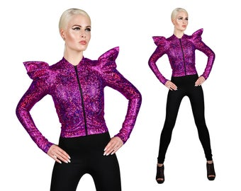 Futuristic Jacket; Pink, Holographic Clothing, Burning Man Clothing, Stage Wear, Dancewear, EDM Rave Wear, Futuristic Clothing, LENA QUIST