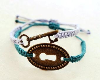 Couples Bracelets - Lock & Key Hemp Bracelets - Hemp Jewelry