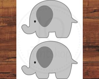 Printable Elephant Party Decor, Gray Elephant Cut Out, Elephant Baby Shower, Elephant 1st Birthday, Party Printables #EC09