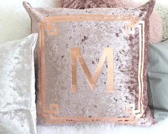 Personalized Monogram Name Pillow, Velvet Decorative Pillows, Throw Pillow, Home Decor, Custom Monogram Accent Cover, Farmhouse Wedding