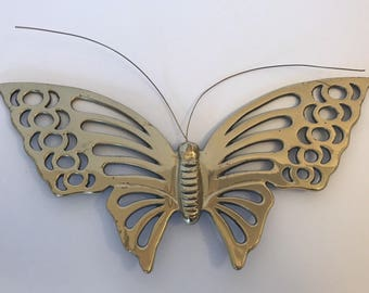 Vtg Solid Brass Butterfly Wall Hanging Movable Antenna Bohemian Decor