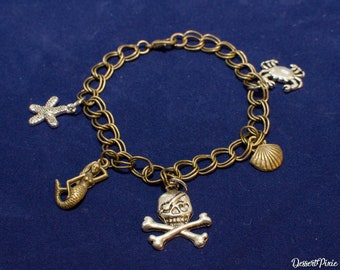 Pirates of the Caribbean Charm Bracelet/ Mixed metal charms/ Charm Bracelet