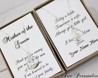 Mother of the Groom Gift Mother of the Bride Gift Infinity Sterling Silver Necklace Mother of the Groom Necklace FREE Personalized Card!!