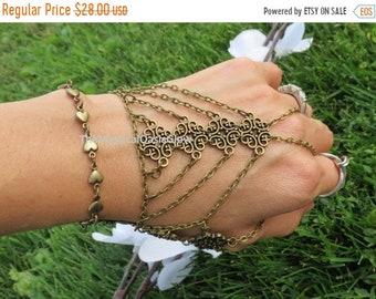 Sale Hand chain bracelet glove slave bracelet ring bracelet, hand chain, body chain jewelry, body jewelry, chain, The Mystical Oasis Glow