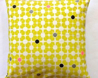 Breeze Block (Mini) Block Printed Linen Cushion / Pillow - Chartreuse