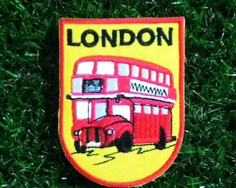 Vintage London red bus embroidered iron on patch.