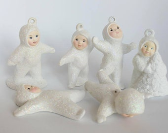 Vintage Christmas Ornaments, Vintage Christmas Decor, Vintage Snowbabies, Christmas Snowbabies, Set of 6 Snowbaby Ornaments, Christmas Decor
