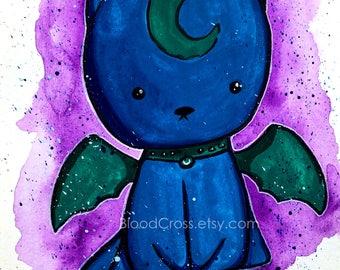 Bat Kitty Original Painting