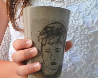 Handmade Coffee Mug, Ceramic coffee Tumbler, Gray Pottery Mug, Tea Mug, Handmade Pottery Mug, Ceramic Handmade Mug, Portrait Mug, Coffee Mug