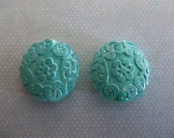 Green Aqua Coin Beads - 22mm Round Beads - Mediterranean Design - Lucite from Germany - Qty 2