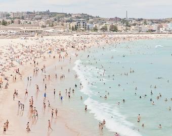 Beach photography, Beach print, beach people, ocean photography, coastal decor, large beach print, Bondi print, aerial photography