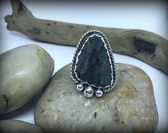 Faceted Ruby Zoisite Sterling Silver Ring - Sz. 8