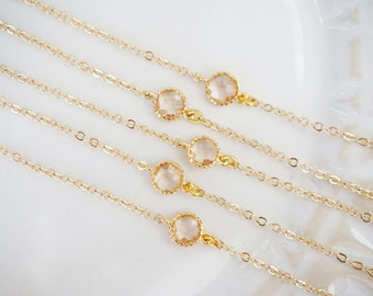 Dainty Champagne Gem Bracelets | Bridesmaid Bracelets | Wedding Jewelry  BCHPG1, BCHPS1