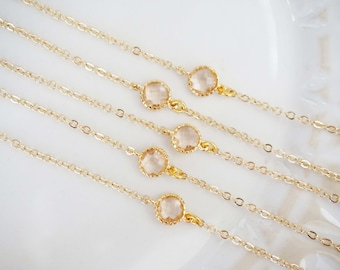 Champagne Circle Gem Bracelets | Bridesmaid Bracelets | Wedding Jewelry