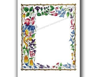 Florentine Stationery Border Flower Illumination Page Digital Download Weddings Invitation Save the Date DIY Craft Greeting Note Card fg 849