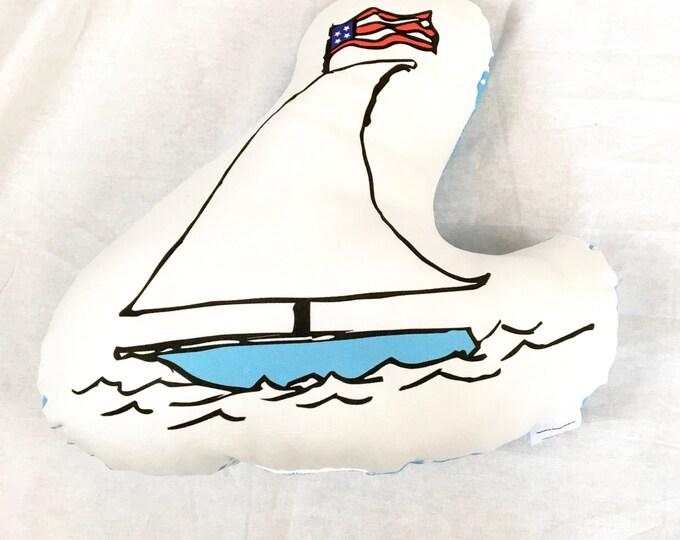 Summer beach boat throw pillow