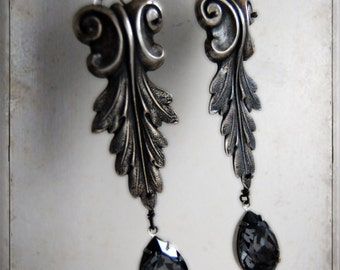 earrings - BAROQUE - ooak,  gothic, royal, victorian, neovictorian, dark romance, queen