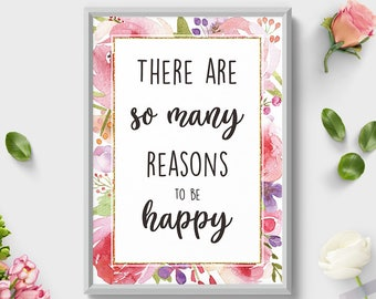 Wall Art Print, There are so many, Botanical Print, Botanical Wall Art, Floral Print, Quote Art, Home Sign, Room Decor, Watercolor Flowers