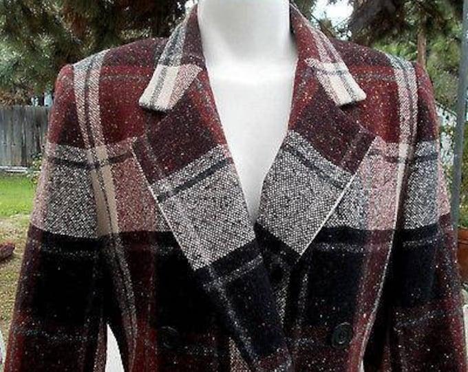 Vintage 80s Classic Preppy Oleg Cassini Navy Blue White Red Wool Plaid Tweed Womens Long Sleeve Blazer Jacket 8P