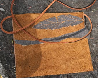 Leather Hip bag simple earthy feather