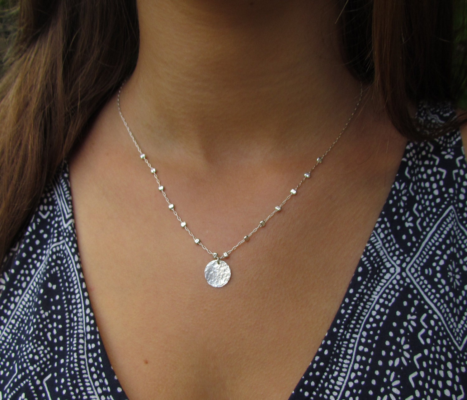 disc necklace initial engraved dis sterling silver product