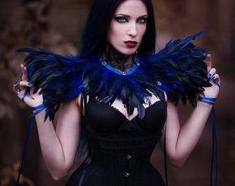 Set/2 pieces: Black lace neck corset with royal blue black feathers & octagon crystals and Royal blue black feather suspender shoulder pads