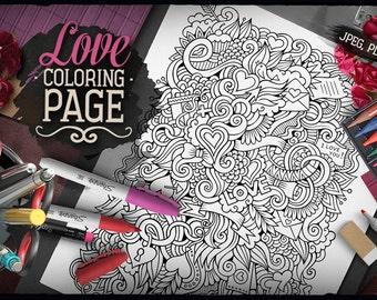 LOVE Digital Coloring Page, Adult Coloring, Printable, Coloring sheet, Valentines Doodles Art, Happy Holidays Doodle, Digital Download