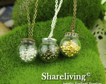 3 set  12mm Clear Glass Globe Bottle With Mixed Brass Cover HC152D