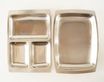 Vintage Selandia Stainless Steel Serving Trays (c.1960s) - Danish Modern Trays, Metal Buffet Table Trays