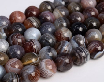 Genuine Natural Multicolor Botswana Agate Loose Beads Round Shape 12mm