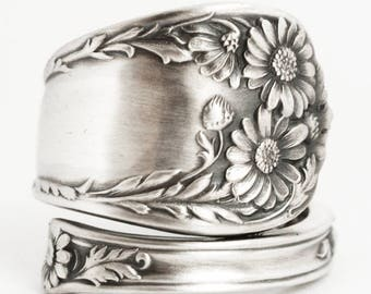 Daisy Ring, Sterling Silver Spoon Ring, Daises Flower Ring, Handmade July Gift, 5th Wedding, Adjustable Size, International (6726)