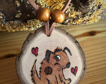 Spot the Dog Boho Fun Pendant Necklace from Natural Wood Slice. Original Woodburning Art Hand Made in Germany