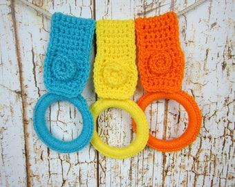 Kitchen Towel holder, Set of 3 Yellow Orange Turquoise Blue, Crochet Dish Towel holder,  bathroom handtowel holder, Kitchen gift item