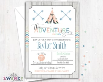 Tribal Baby Shower Invitation, Boho Baby Shower Invitation, Tee Pee, Arrows, Aztec Baby Shower Invitation, Gender Neutral Baby Shower Invite