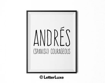 Andrés Name Meaning Art - Printable Baby Shower Gift - Nursery Printable Art - Digital Print - Nursery Decor - Typography Wall Decor