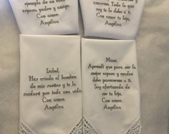 personalized handkerchief gifts from bride Set of 4 for Mother of the groom/bride and father of the groom/bride  custom made personalized