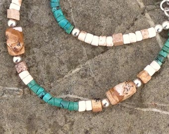 Genuine Hubei turquoise, picture jasper, and sterling silver necklace. Southwestern style or western wear. Great to layer! Handmade by Cinda