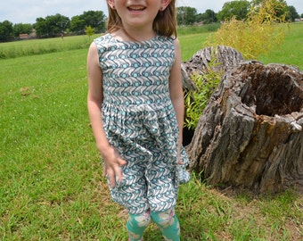 Toddler and Youth Girls Handmade Organic Cotton Sleeveless Dress - Gray White Swaying Floral - Nazar Eye - Aspen 3159