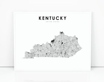 Kentucky state map Etsy