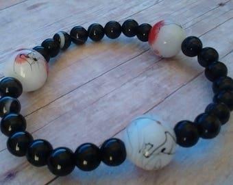 Black Onyx with Speckled Glass Trio Bracelet