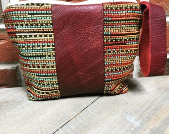 Aztec Makeup Bag, Southwestern Makeup Bag Pouch, Clutch, Evening Bag, Wristlet, Leather Bag, Leather Clutch, Leather Wristlet, Leather Bag