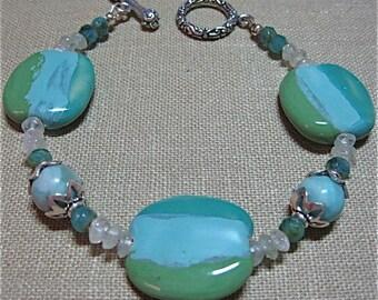 Blues and Green Striped Kazuri Bead Bracelet - E095