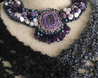 Bead Embroidered Collar ,Necklace, Charoite, Amethyst, Amethyst Crystals, Filagree Silver Beads,