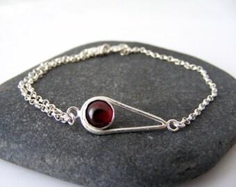 Garnet Teardrop Bracelet - sterling silver teardrop bracelet - January birthstone bracelet - stacking bracelet - bridesmaid jewellery gift
